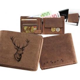 Kožená peňaženka jelenia hlava ležatá