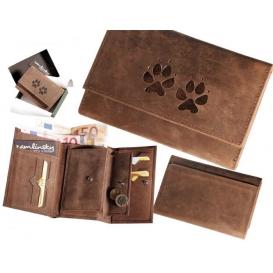 """Dámska kožená peňaženka 009 """"Psie stopy"""" ležatá"""