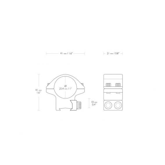 Montáž Hawke Match, dvojdielna, 25,4 mm, 9-11 mm, nízka