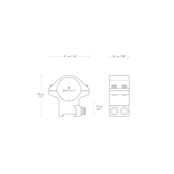 Montáž Hawke Match, dvojdielna, (priemer krúžkov 25,4 mm), 9-11 mm, stredná