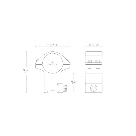Montáž Hawke Match, dvojdielna, (priemer krúžkov 25,4 mm), 9-11 mm, vysoká