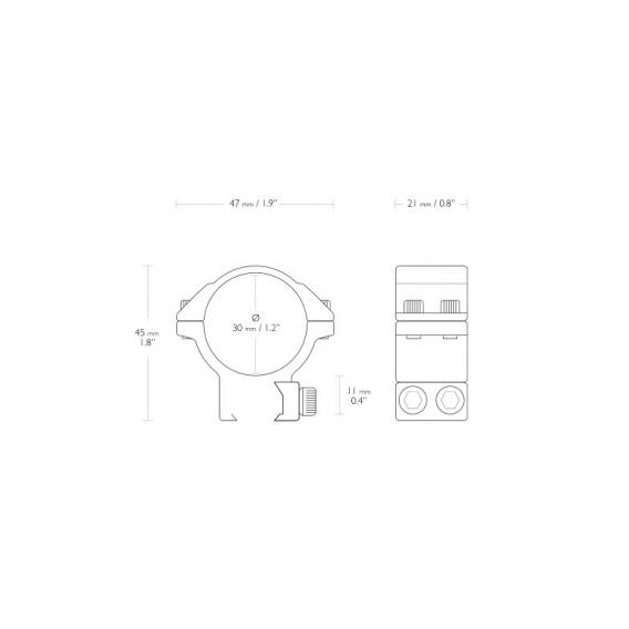 Montáž Hawke Match, dvojdielna, (priemer krúžkov 30 mm), 9-11 mm, stredná