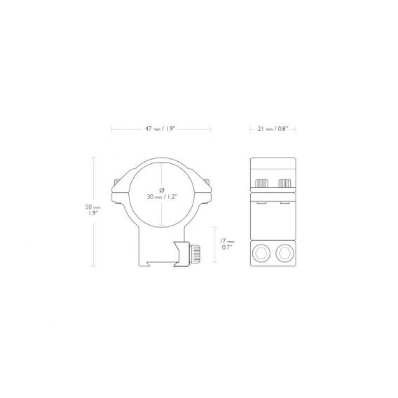 Montáž Hawke Match, dvojdielna, (priemer krúžkov 30 mm), 9-11 mm, vysoká