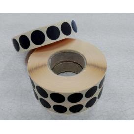 Terčové zálepky, 16mm, čierne, 2000ks / kotúč