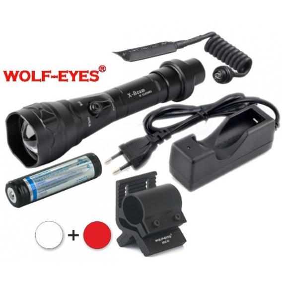 Wolf-Eyes X-Beam Biela XP-L HI V2, USB v.2017 + Červená LED Full Set