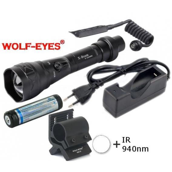Wolf-Eyes X-Beam Biela XP-L HI V2, USB v.2017 + IR940 LED Full Set