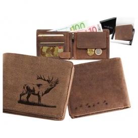 Kožená peňaženka Jeleň ručiaci ležatá