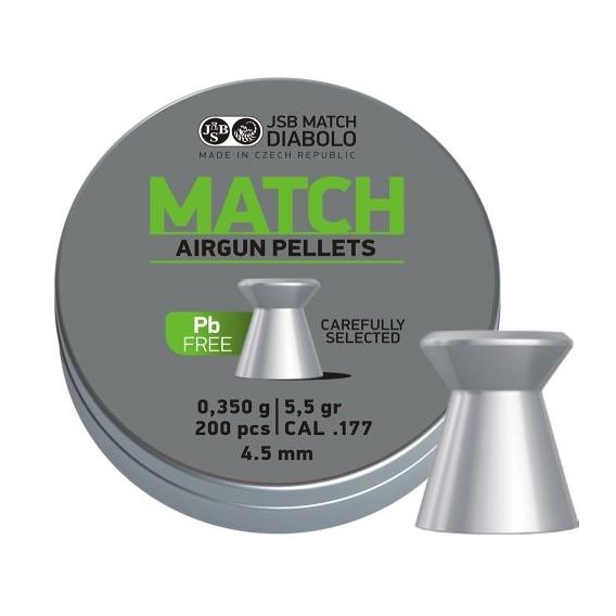 Diabolo JSB Match Lead Free 4,52mm/.177, 0,350g/5,5gr, 200ks