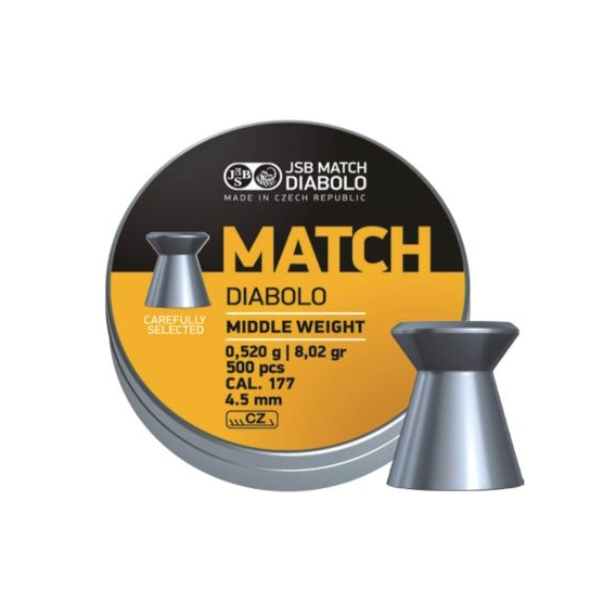 JSB Yellow Match Diabolo Middle Weight 4,50mm/.177, 0,520g/8,02gr, 500ks