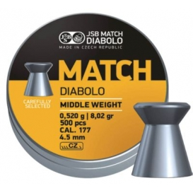 JSB Yellow Match Diabolo Middle Weight 4,52mm/.177, 0,520g/8,02gr, 500ks