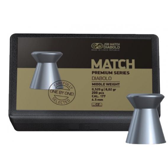 Diabolo JSB Match Premium Series Middle 4,52mm/.177, 0,520g/78,02gr, 200ks