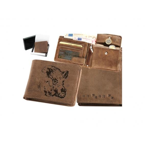 Kožená peňaženka Diviak hlava ležatá