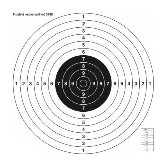 Terč pištoľový medzinárodný 50/20