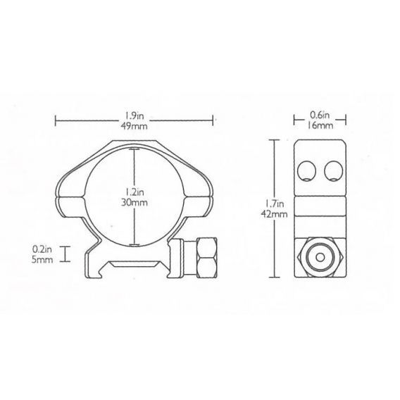 Montáž Hawke Weaver, dvojdielna, 30 mm, nízka (6h matica)