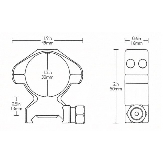 Montáž Hawke Weaver, dvojdielna, 30 mm, vysoká (6h matica)