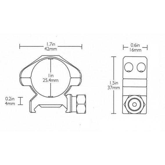 Montáž Hawke Weaver, dvojdielna, 25,4mm, nízka (6h matica)